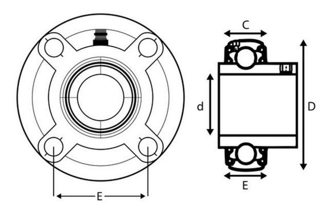 Laippalaakeriyksikkö - pyöreä - 35 mm (economic)