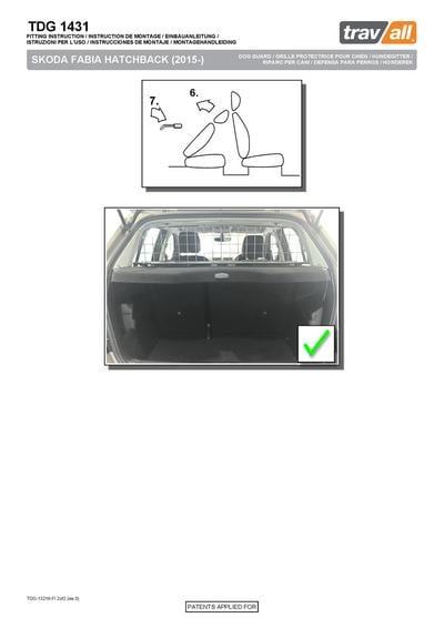 Koiraverkko autoon - Skoda Fabia hatchback (2014->), Travall - Koiraverkko autoon - Skoda Fabia hatchback