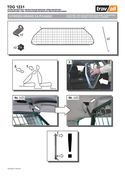Koiraverkko autoon - Citroen Grand C4 Picasso (2007-2013), Travall - Koiraverkko autoon - Citroen Grand C4 Picasso