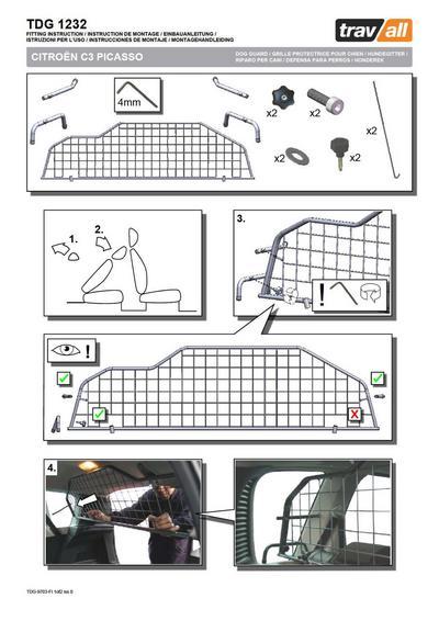 Koiraverkko autoon - Citroen C3 Picasso (2009->), Travall - Koiraverkko autoon - Citroen C3 Picasso