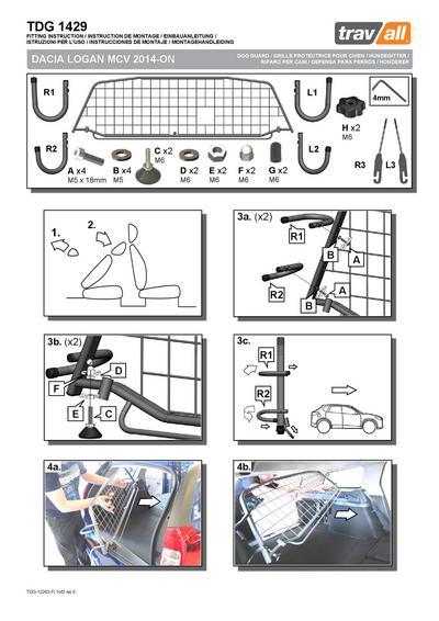 Koiraverkko autoon - Dacia Logan MCV (2013->), Travall - Koiraverkko autoon - Dacia Logan MCV