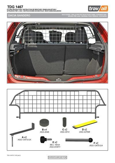 Koiraverkko autoon - Dacia Sandero hatchback 5-ov (2012->), Travall - Koiraverkko autoon - Dacia Sandero hatchback