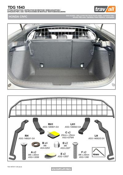 Koiraverkko autoon - Honda Civic hatchback (2017->), Travall - Koiraverkko autoon - Honda Civic hatchback (2017->)