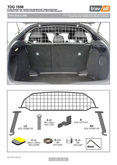 Koiraverkko autoon - Toyota C-HR (2016->), Travall - Koiraverkko autoon - Toyota C-HR (2016->)