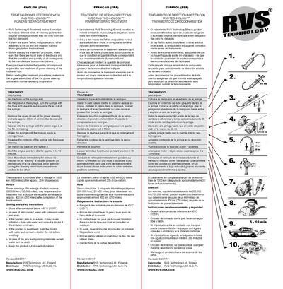 Ohjaustehostimen suoja- ja käsittelyaine, RVS - Ohjaustehostimen suoja- ja käsittelyaine, RVS