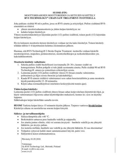 Moottorisahan suoja- ja käsittelyaine, RVS - Moottorisahan suoja- ja käsittelyaine, RVS