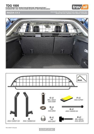 Koiraverkko autoon - Mazda CX-3 (2015->), Travall - Koiraverkko autoon - Mazda CX-3 (2015->)