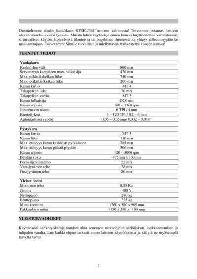 Monitoimikone - sorvi/jyrsin/pylväsporakone, Steeltec - Monitoimikone - sorvi/jyrsin/pylväsporakone