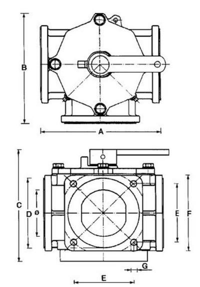 "3-tieventtiili  6""/ 150 mm - Riv - 3-tieventtiili  6""/ 150 mm"