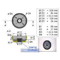 Jarrurumpu 200x50 4x100 kompakti laakerilla - Valeryd