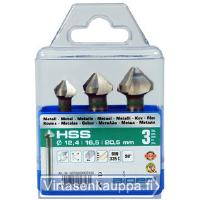 Senkkausporasarja HSS 12,4/16,5/20,5 mm, Alpen